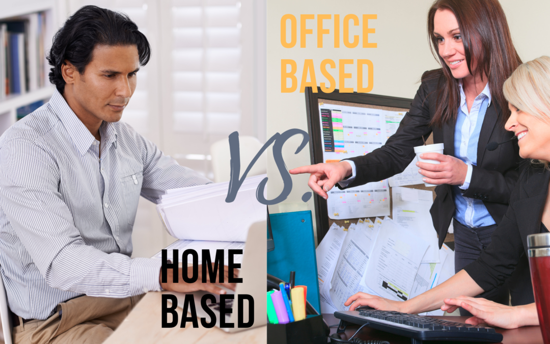 man working at home and women working at the office